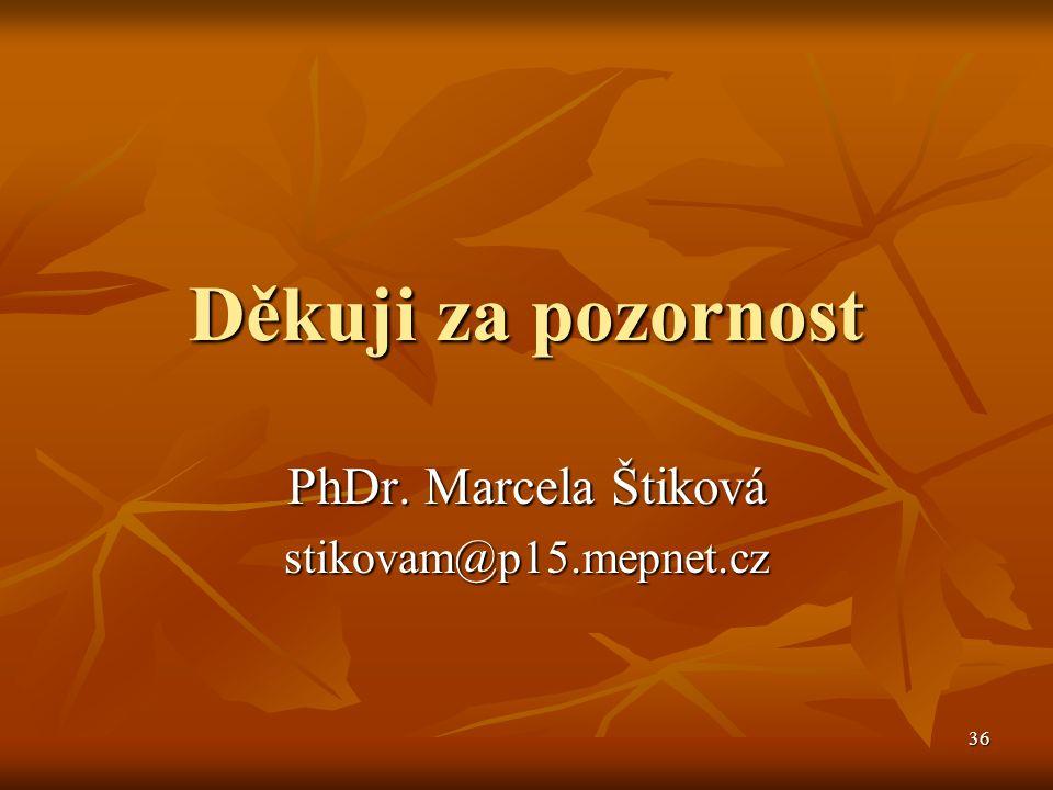 36 Děkuji za pozornost PhDr. Marcela Štiková stikovam@p15.mepnet.cz