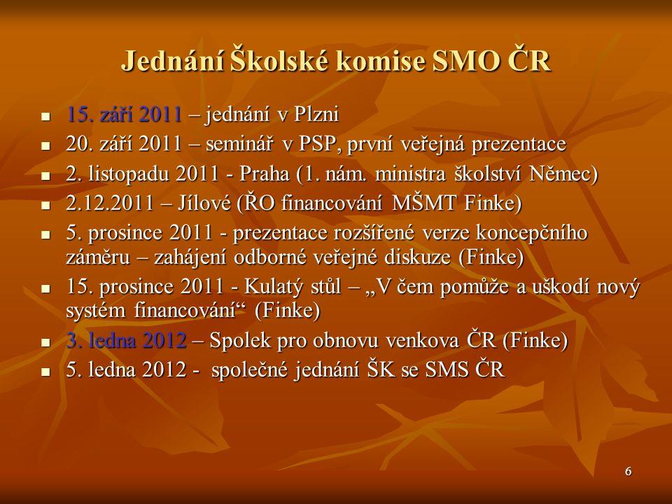 6 Jednání Školské komise SMO ČR 15. září 2011 – jednání v Plzni 15.
