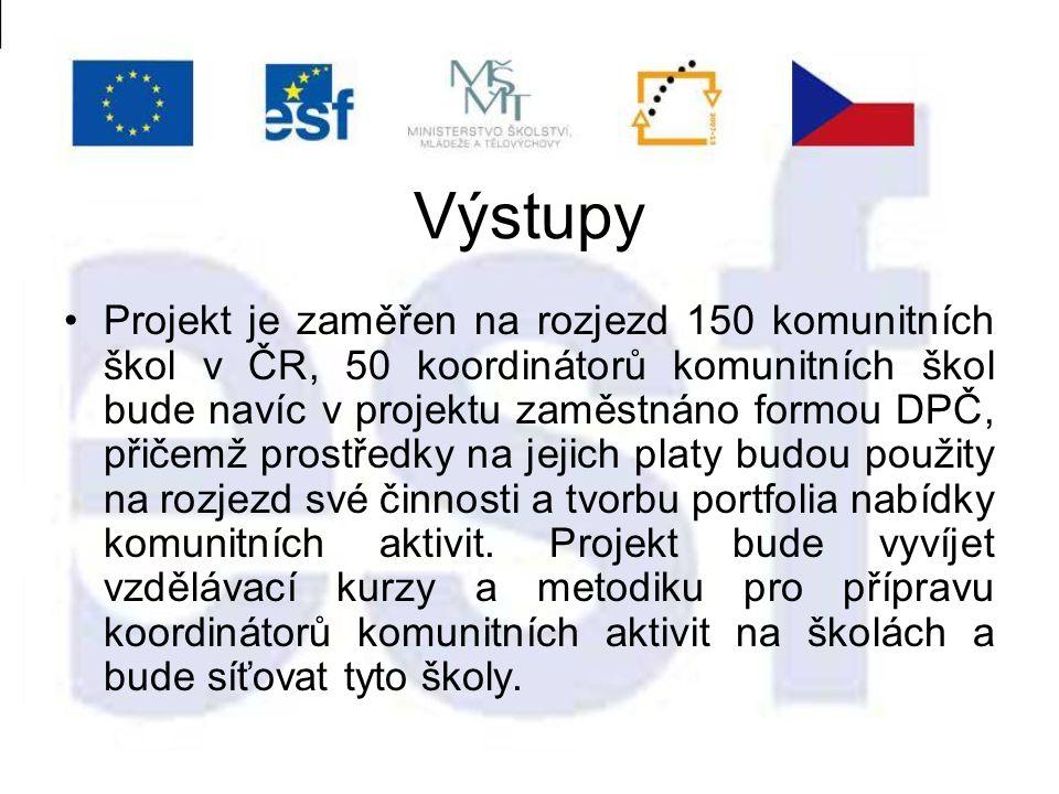 Výstupy Projekt je zaměřen na rozjezd 150 komunitních škol v ČR, 50 koordinátorů komunitních škol bude navíc v projektu zaměstnáno formou DPČ, přičemž prostředky na jejich platy budou použity na rozjezd své činnosti a tvorbu portfolia nabídky komunitních aktivit.