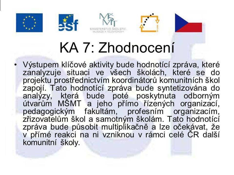 KA 7: Zhodnocení Výstupem klíčové aktivity bude hodnotící zpráva, které zanalyzuje situaci ve všech školách, které se do projektu prostřednictvím koordinátorů komunitních škol zapojí.