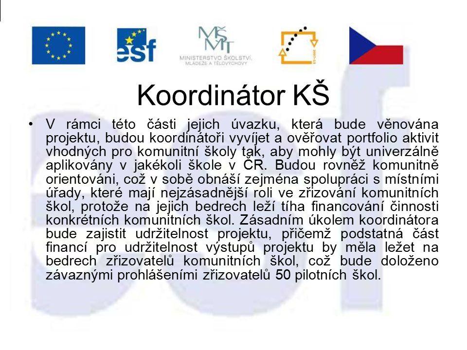 Koordinátor KŠ V rámci této části jejich úvazku, která bude věnována projektu, budou koordinátoři vyvíjet a ověřovat portfolio aktivit vhodných pro komunitní školy tak, aby mohly být univerzálně aplikovány v jakékoli škole v ČR.