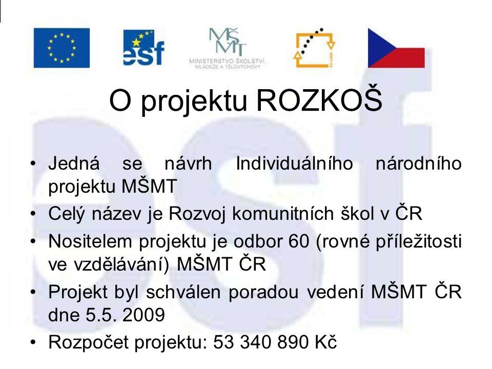 O projektu ROZKOŠ Jedná se návrh Individuálního národního projektu MŠMT Celý název je Rozvoj komunitních škol v ČR Nositelem projektu je odbor 60 (rovné příležitosti ve vzdělávání) MŠMT ČR Projekt byl schválen poradou vedení MŠMT ČR dne 5.5.