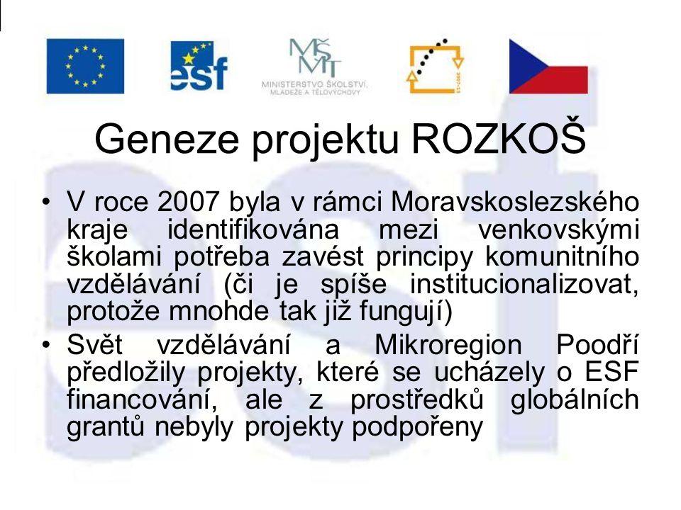Geneze projektu ROZKOŠ V roce 2007 byla v rámci Moravskoslezského kraje identifikována mezi venkovskými školami potřeba zavést principy komunitního vzdělávání (či je spíše institucionalizovat, protože mnohde tak již fungují) Svět vzdělávání a Mikroregion Poodří předložily projekty, které se ucházely o ESF financování, ale z prostředků globálních grantů nebyly projekty podpořeny