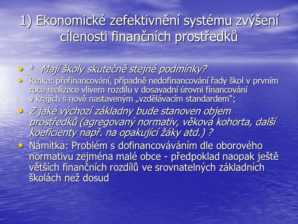 1) Ekonomické zefektivnění systému zvýšení cílenosti finančních prostředků ** Zvážit kompromis mezi absolutní pravomocí KÚ rozhodovat o nakládání s finančními prostředky a centralizací rozhodování z KÚ na MŠMT u stanovování optimální velikosti třídy a školy – zohlednit konkrétní podmínky a specifika pro vzdělávání umí nejlépe zřizovatel; + plnění § 177 ŠZ ** Zvážit kompromis mezi absolutní pravomocí KÚ rozhodovat o nakládání s finančními prostředky a centralizací rozhodování z KÚ na MŠMT u stanovování optimální velikosti třídy a školy – zohlednit konkrétní podmínky a specifika pro vzdělávání umí nejlépe zřizovatel; + plnění § 177 ŠZ ** Zvážit otázku parametru optimálního počtu žáků ve třídách základních škol – možnost vypustit a ponechat minimální počet popř.