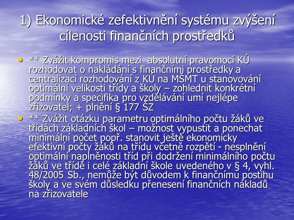 4) Administrativní zjednodušení systému – zrušení limitů mzdové regulace * Kdo ponese zodpovědnost za nesprávné rozhodování ŘŠ a školských zařízení o alokaci finančních prostředků.