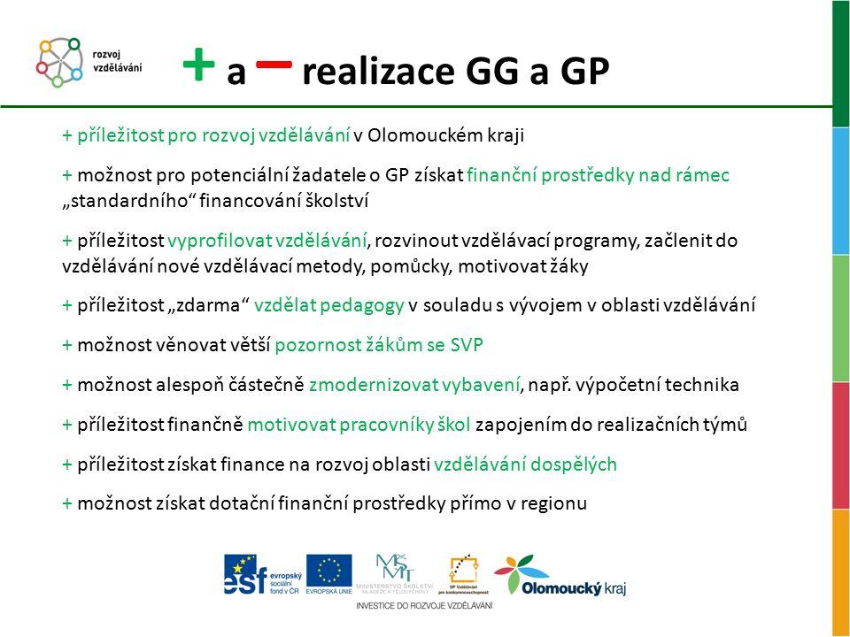 + a – realizace GG a GP + příležitost pro rozvoj vzdělávání v Olomouckém kraji + možnost pro potenciální žadatele o GP získat finanční prostředky nad