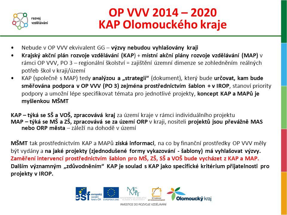 OP VVV 2014 – 2020 KAP Olomouckého kraje Nebude v OP VVV ekvivalent GG – výzvy nebudou vyhlašovány kraji Krajský akční plán rozvoje vzdělávání (KAP) +