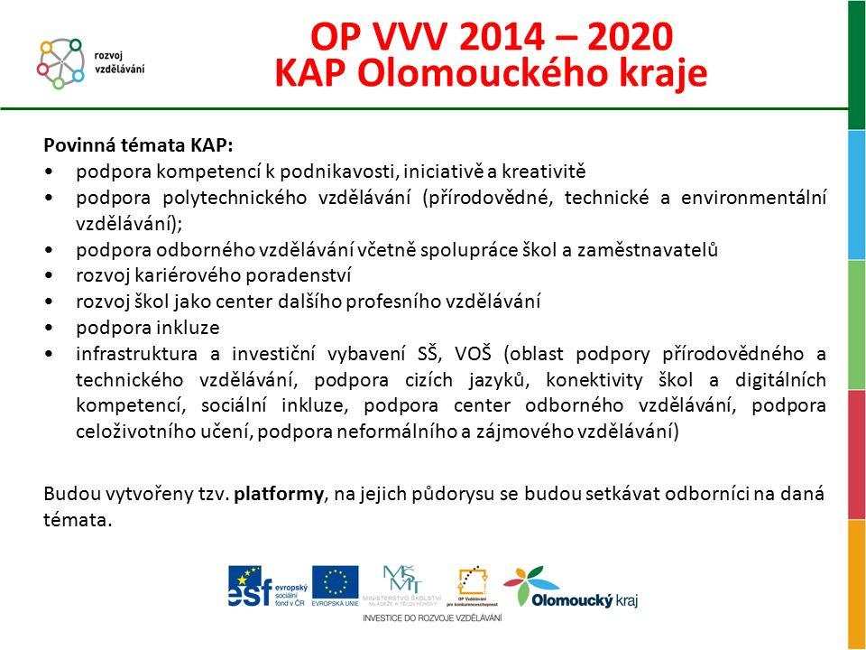 OP VVV 2014 – 2020 KAP Olomouckého kraje Povinná témata KAP: podpora kompetencí k podnikavosti, iniciativě a kreativitě podpora polytechnického vzdělá
