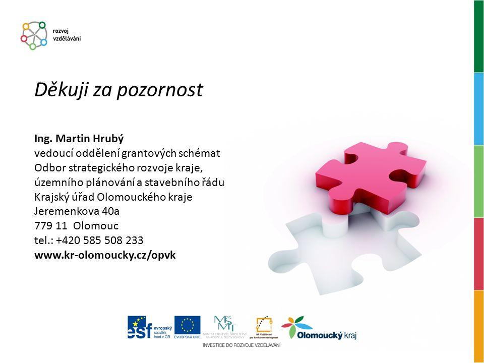 Děkuji za pozornost Ing. Martin Hrubý vedoucí oddělení grantových schémat Odbor strategického rozvoje kraje, územního plánování a stavebního řádu Kraj