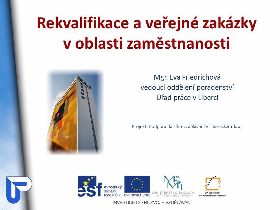 Rekvalifikace a veřejné zakázky v oblasti zaměstnanosti Mgr.