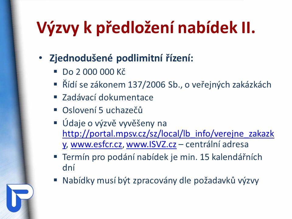 Zjednodušené podlimitní řízení:  Do 2 000 000 Kč  Řídí se zákonem 137/2006 Sb., o veřejných zakázkách  Zadávací dokumentace  Oslovení 5 uchazečů  Údaje o výzvě vyvěšeny na http://portal.mpsv.cz/sz/local/lb_info/verejne_zakazk y, www.esfcr.cz, www.ISVZ.cz – centrální adresa http://portal.mpsv.cz/sz/local/lb_info/verejne_zakazk ywww.esfcr.czwww.ISVZ.cz  Termín pro podání nabídek je min.