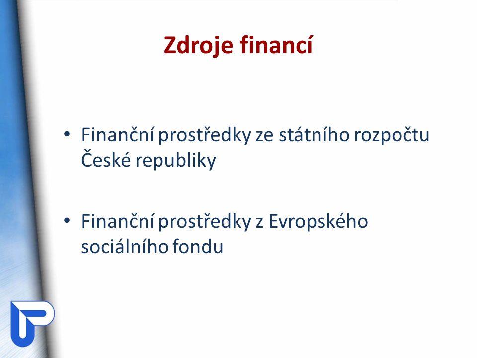 Finanční prostředky ze státního rozpočtu České republiky Finanční prostředky z Evropského sociálního fondu Zdroje financí