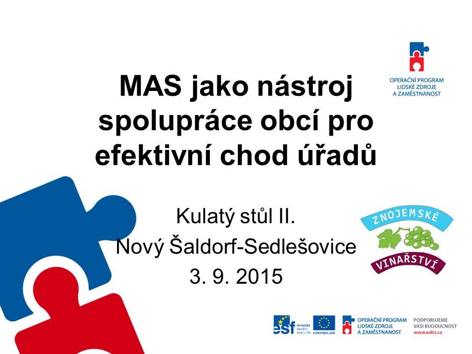 Kulatý stůl II. Nový Šaldorf-Sedlešovice 3. 9. 2015 MAS jako nástroj spolupráce obcí pro efektivní chod úřadů