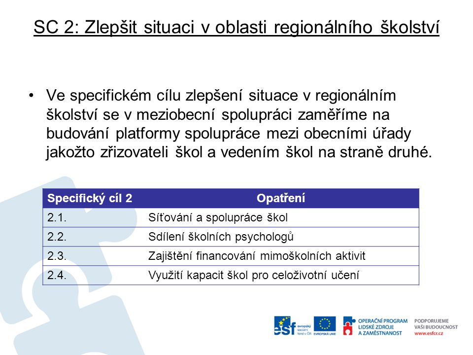SC 2: Zlepšit situaci v oblasti regionálního školství Ve specifickém cílu zlepšení situace v regionálním školství se v meziobecní spolupráci zaměříme