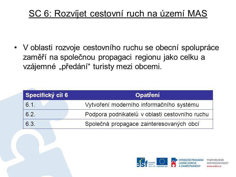 SC 6: Rozvíjet cestovní ruch na území MAS V oblasti rozvoje cestovního ruchu se obecní spolupráce zaměří na společnou propagaci regionu jako celku a v