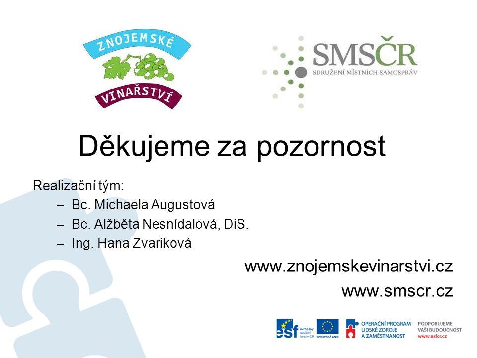 Děkujeme za pozornost Realizační tým: –Bc. Michaela Augustová –Bc. Alžběta Nesnídalová, DiS. –Ing. Hana Zvariková www.znojemskevinarstvi.cz www.smscr.