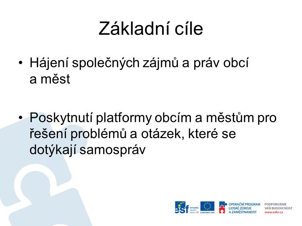 Základní cíle Hájení společných zájmů a práv obcí a měst Poskytnutí platformy obcím a městům pro řešení problémů a otázek, které se dotýkají samospráv