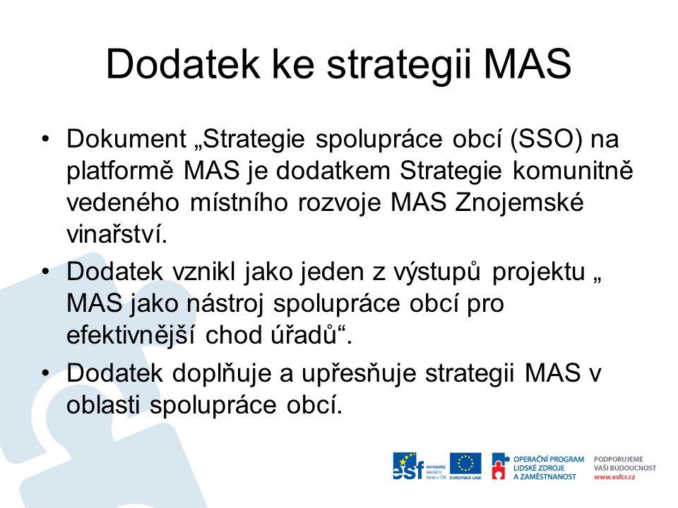 """Dodatek ke strategii MAS Dokument """"Strategie spolupráce obcí (SSO) na platformě MAS je dodatkem Strategie komunitně vedeného místního rozvoje MAS Znoj"""