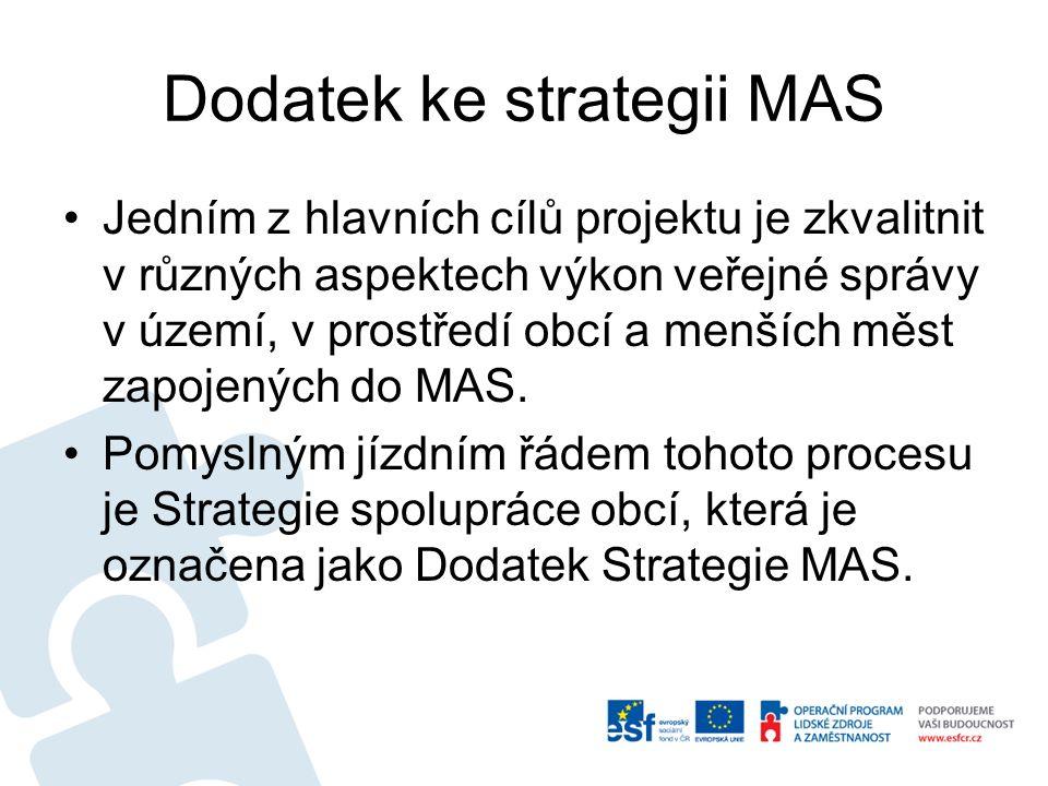 Dodatek ke strategii MAS Jedním z hlavních cílů projektu je zkvalitnit v různých aspektech výkon veřejné správy v území, v prostředí obcí a menších mě