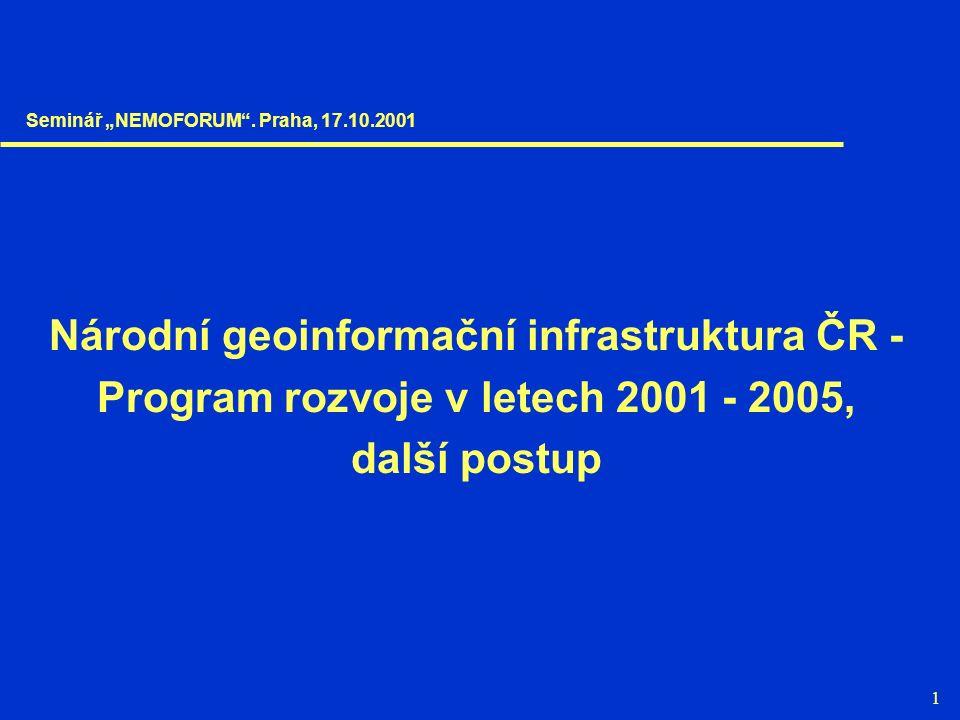 """1 Národní geoinformační infrastruktura ČR - Program rozvoje v letech 2001 - 2005, další postup Seminář """"NEMOFORUM"""". Praha, 17.10.2001"""