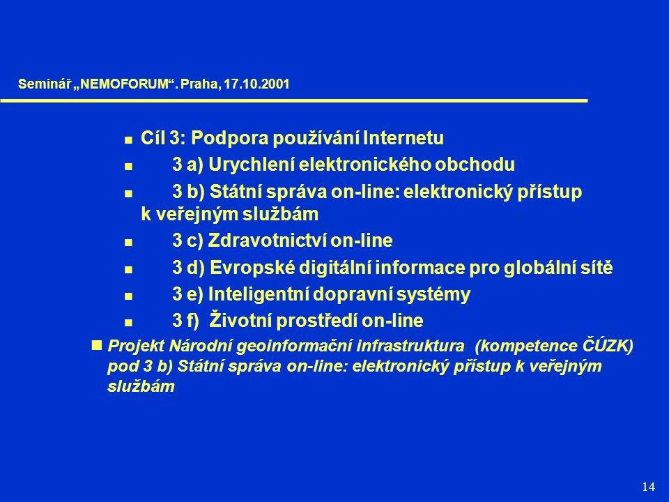14 Cíl 3: Podpora používání Internetu 3 a) Urychlení elektronického obchodu 3 b) Státní správa on-line: elektronický přístup k veřejným službám 3 c) Z
