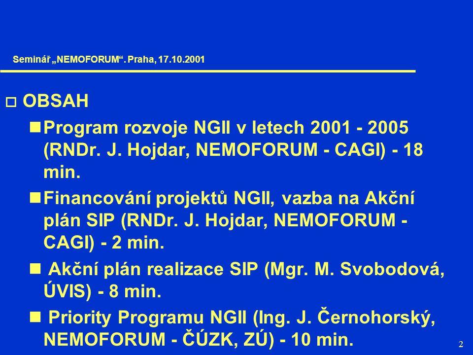 2  OBSAH Program rozvoje NGII v letech 2001 - 2005 (RNDr. J. Hojdar, NEMOFORUM - CAGI) - 18 min. Financování projektů NGII, vazba na Akční plán SIP (
