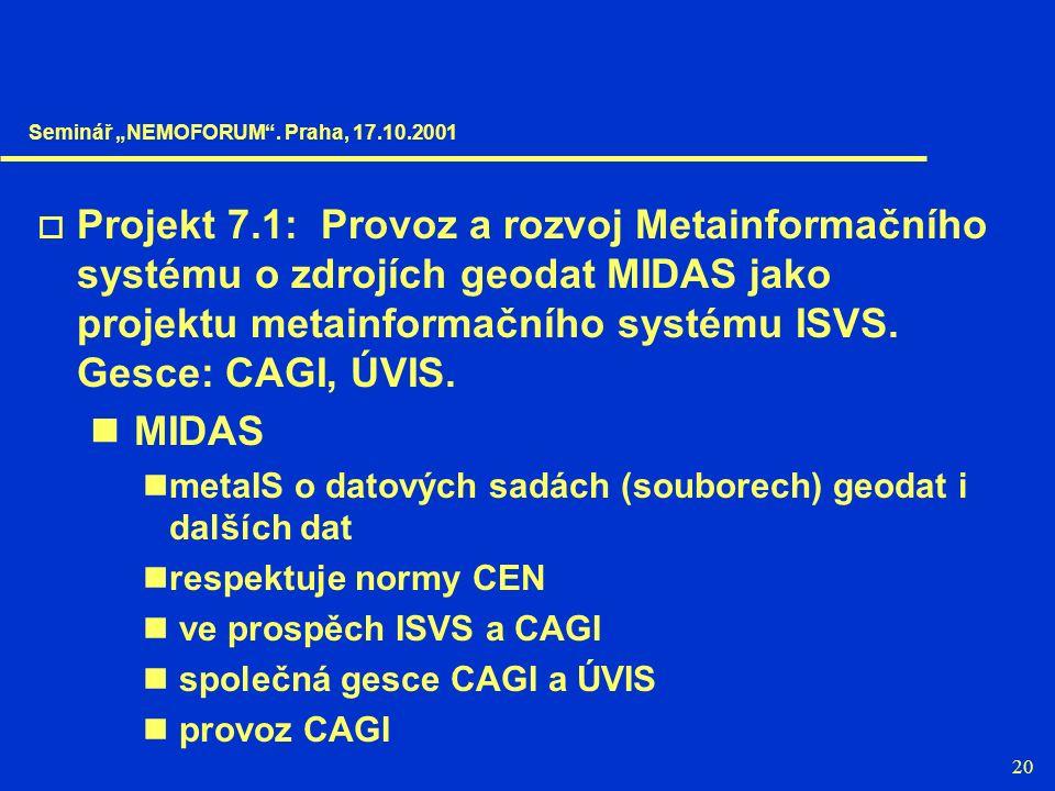 20  Projekt 7.1: Provoz a rozvoj Metainformačního systému o zdrojích geodat MIDAS jako projektu metainformačního systému ISVS. Gesce: CAGI, ÚVIS. MID