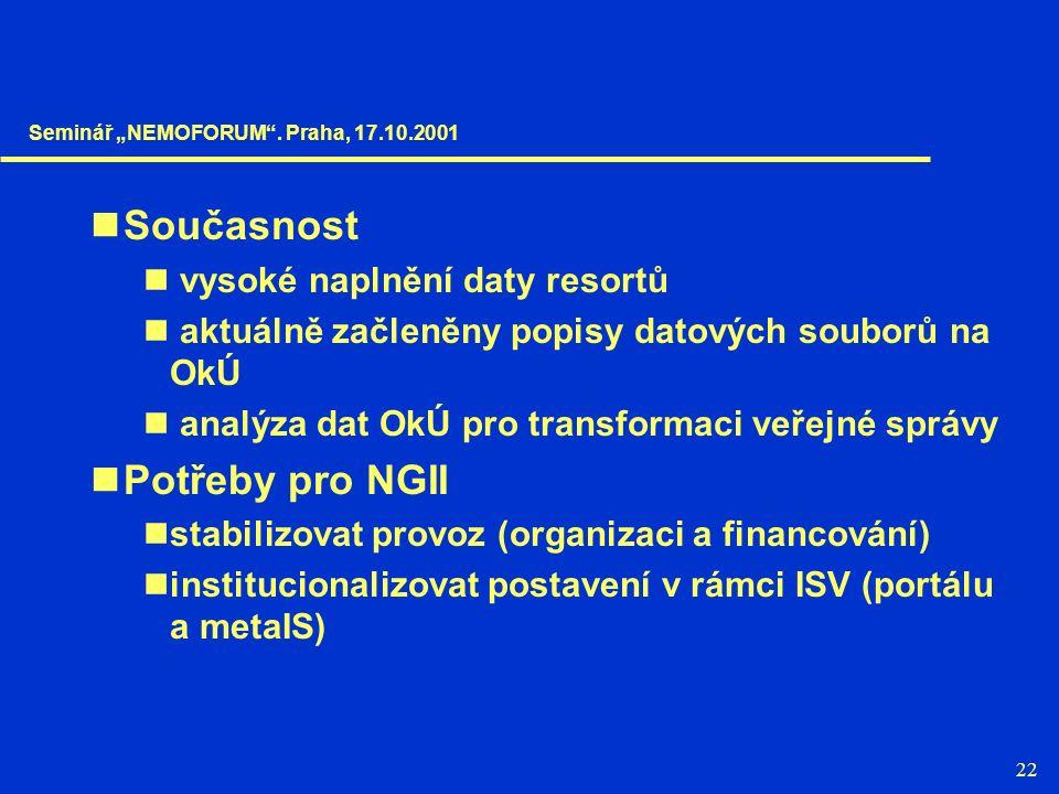 22 Současnost vysoké naplnění daty resortů aktuálně začleněny popisy datových souborů na OkÚ analýza dat OkÚ pro transformaci veřejné správy Potřeby p