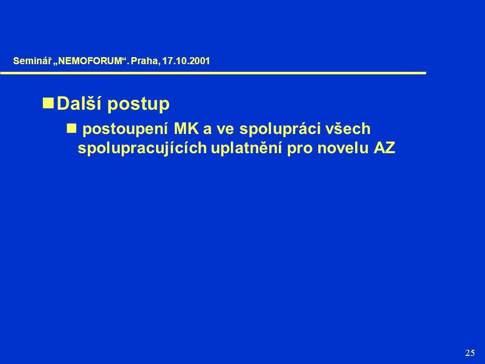 """25 Další postup postoupení MK a ve spolupráci všech spolupracujících uplatnění pro novelu AZ Seminář """"NEMOFORUM"""". Praha, 17.10.2001"""