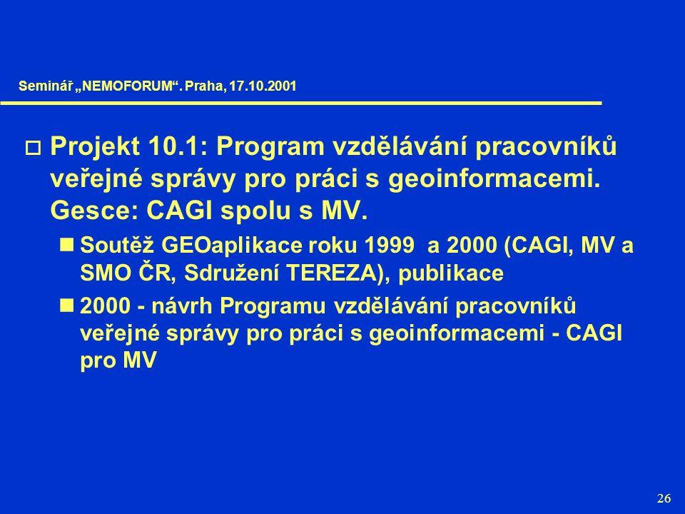 26  Projekt 10.1: Program vzdělávání pracovníků veřejné správy pro práci s geoinformacemi. Gesce: CAGI spolu s MV. Soutěž GEOaplikace roku 1999 a 200