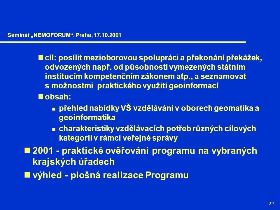27 cíl: posílit mezioborovou spolupráci a překonání překážek, odvozených např.