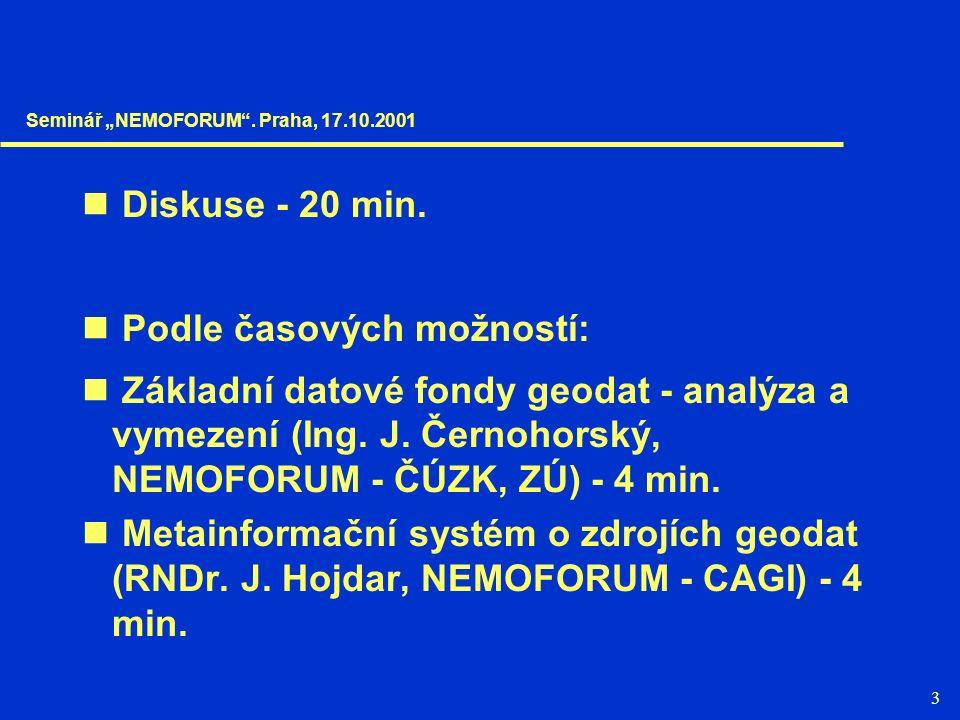 3 Diskuse - 20 min. Podle časových možností: Základní datové fondy geodat - analýza a vymezení (Ing. J. Černohorský, NEMOFORUM - ČÚZK, ZÚ) - 4 min. Me