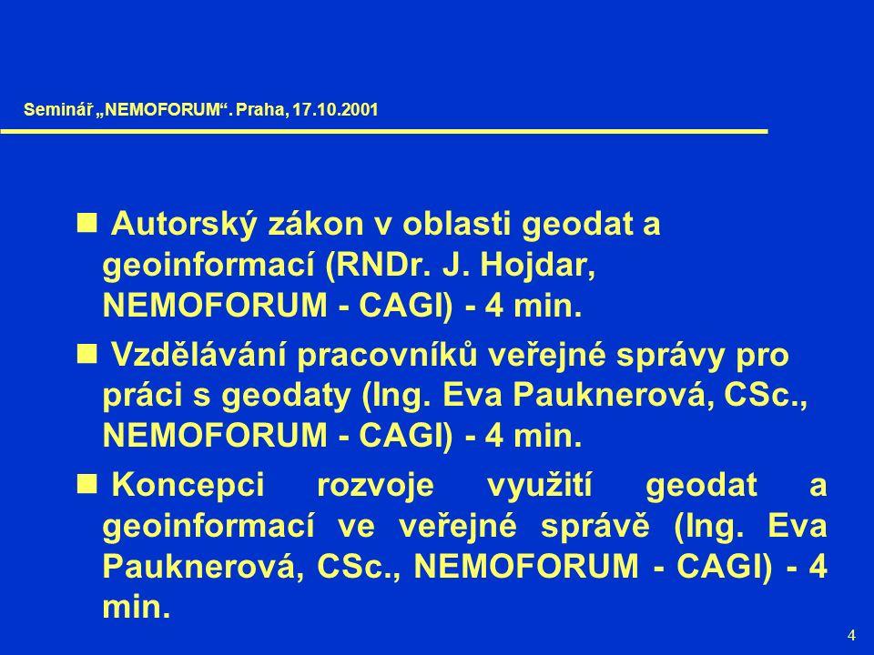 4 Autorský zákon v oblasti geodat a geoinformací (RNDr. J. Hojdar, NEMOFORUM - CAGI) - 4 min. Vzdělávání pracovníků veřejné správy pro práci s geodaty