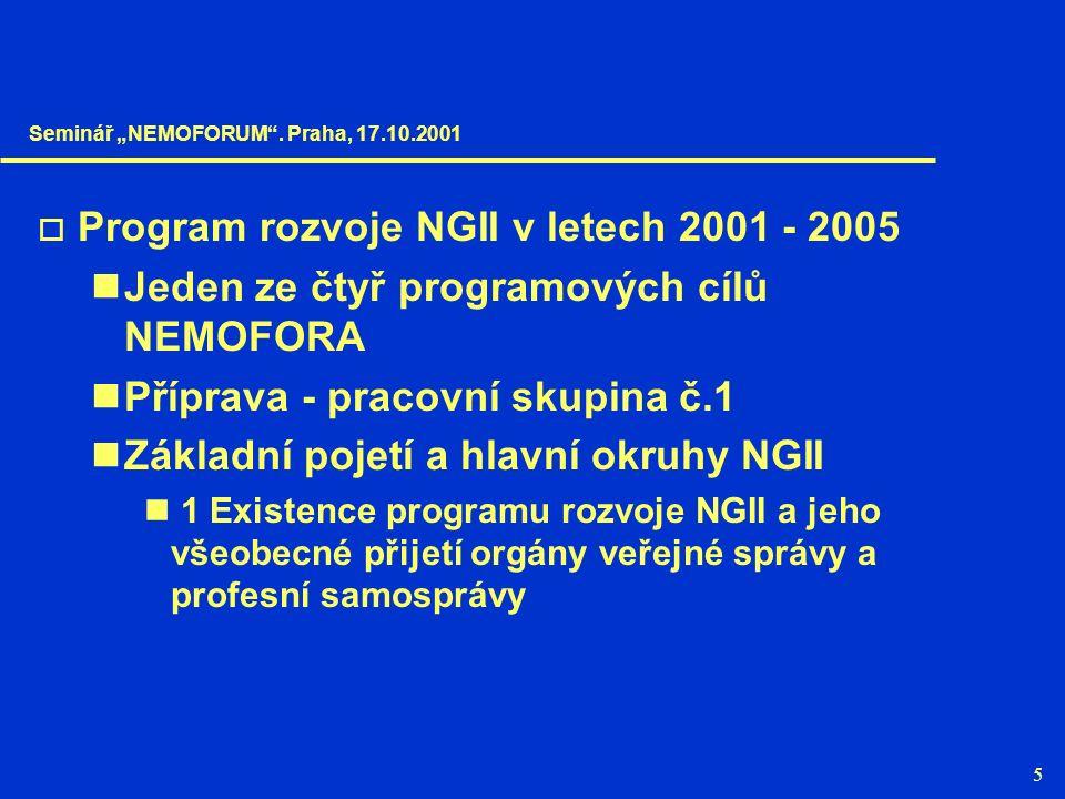 """5  Program rozvoje NGII v letech 2001 - 2005 Jeden ze čtyř programových cílů NEMOFORA Příprava - pracovní skupina č.1 Základní pojetí a hlavní okruhy NGII 1 Existence programu rozvoje NGII a jeho všeobecné přijetí orgány veřejné správy a profesní samosprávy Seminář """"NEMOFORUM ."""