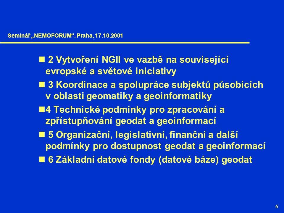 """6 2 Vytvoření NGII ve vazbě na související evropské a světové iniciativy 3 Koordinace a spolupráce subjektů působících v oblasti geomatiky a geoinformatiky 4 Technické podmínky pro zpracování a zpřístupňování geodat a geoinformací 5 Organizační, legislativní, finanční a další podmínky pro dostupnost geodat a geoinformací 6 Základní datové fondy (datové báze) geodat Seminář """"NEMOFORUM ."""
