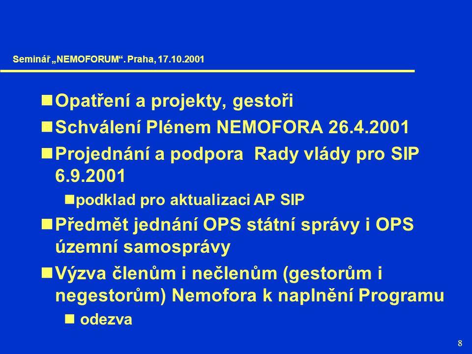 8 Opatření a projekty, gestoři Schválení Plénem NEMOFORA 26.4.2001 Projednání a podpora Rady vlády pro SIP 6.9.2001 podklad pro aktualizaci AP SIP Pře