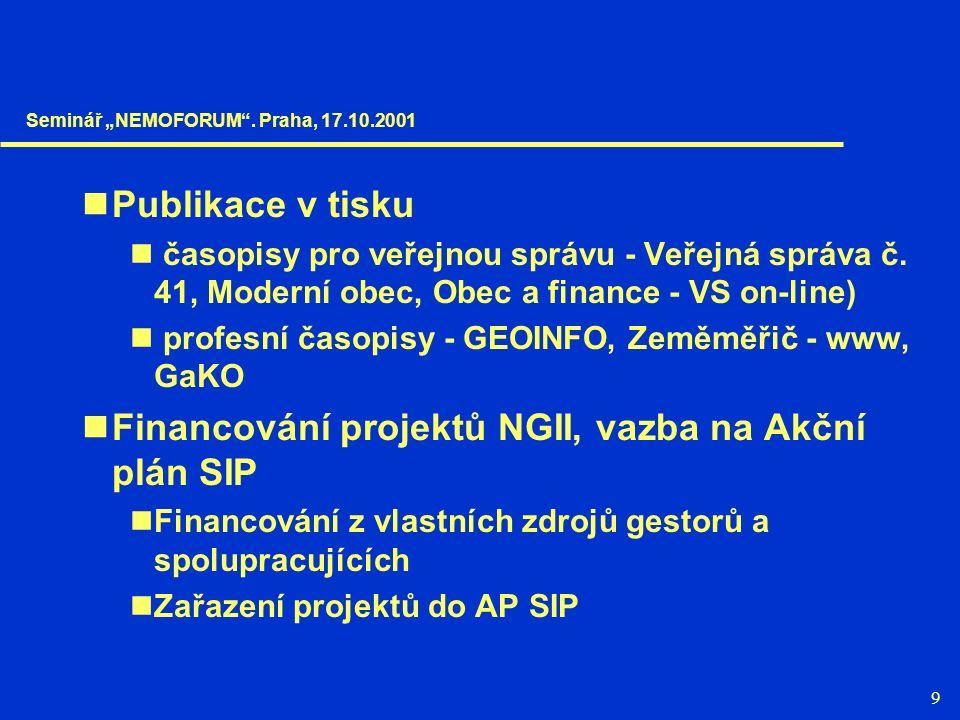 9 Publikace v tisku časopisy pro veřejnou správu - Veřejná správa č. 41, Moderní obec, Obec a finance - VS on-line) profesní časopisy - GEOINFO, Zeměm