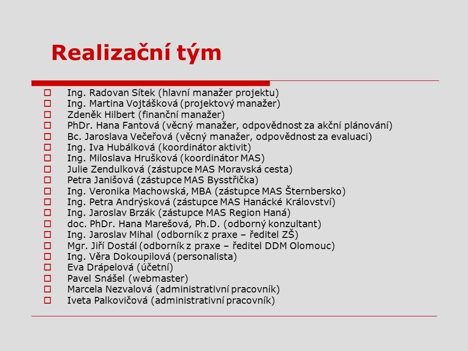 Realizační tým  Ing. Radovan Sítek (hlavní manažer projektu)  Ing. Martina Vojtášková (projektový manažer)  Zdeněk Hilbert (finanční manažer)  PhD