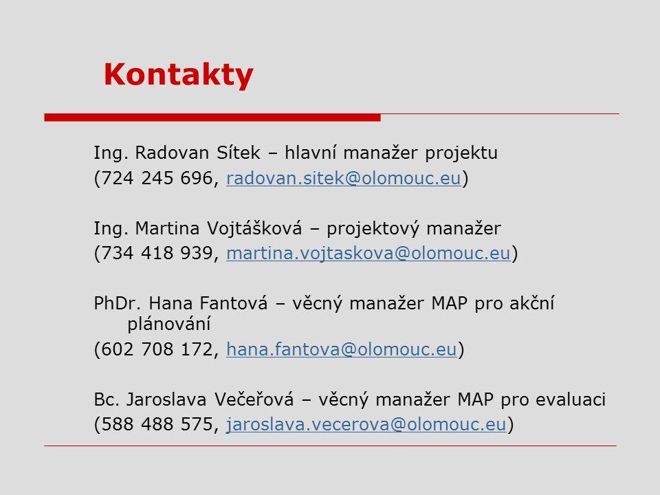 Kontakty Ing. Radovan Sítek – hlavní manažer projektu (724 245 696, radovan.sitek@olomouc.eu)radovan.sitek@olomouc.eu Ing. Martina Vojtášková – projek