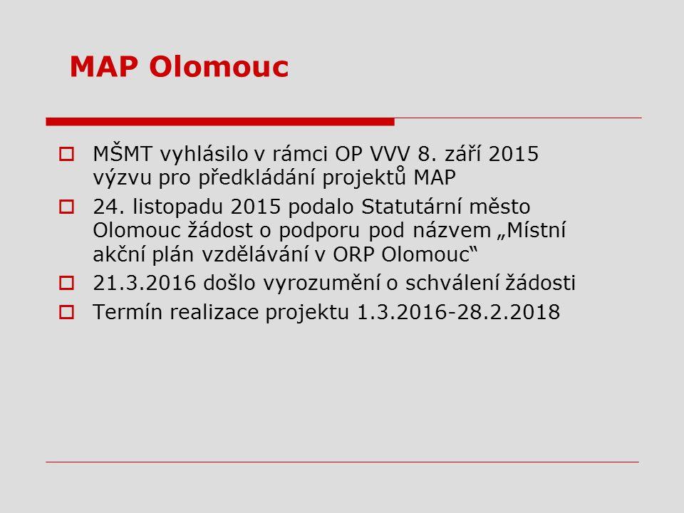 MAP Olomouc  MŠMT vyhlásilo v rámci OP VVV 8. září 2015 výzvu pro předkládání projektů MAP  24. listopadu 2015 podalo Statutární město Olomouc žádos