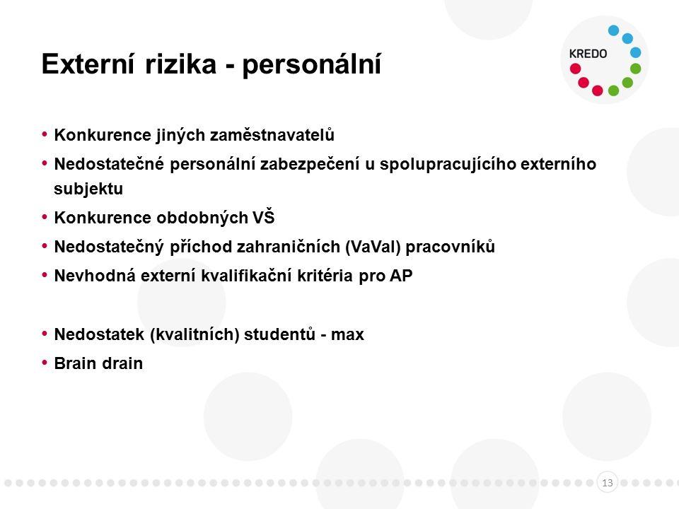 Externí rizika - personální Konkurence jiných zaměstnavatelů Nedostatečné personální zabezpečení u spolupracujícího externího subjektu Konkurence obdobných VŠ Nedostatečný příchod zahraničních (VaVaI) pracovníků Nevhodná externí kvalifikační kritéria pro AP Nedostatek (kvalitních) studentů - max Brain drain 13