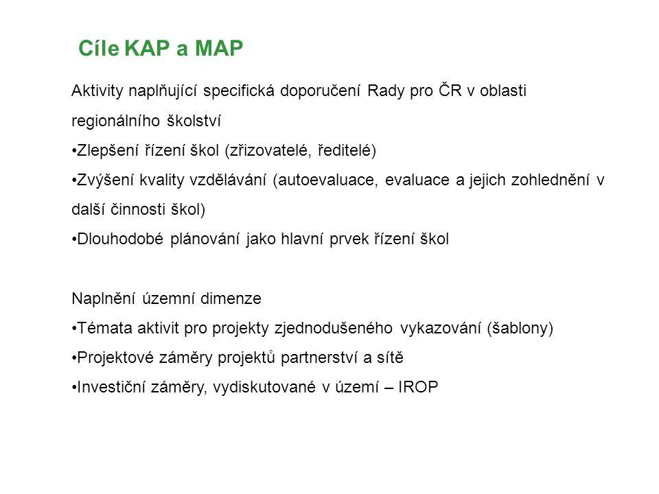 Cíle KAP a MAP Aktivity naplňující specifická doporučení Rady pro ČR v oblasti regionálního školství Zlepšení řízení škol (zřizovatelé, ředitelé) Zvýšení kvality vzdělávání (autoevaluace, evaluace a jejich zohlednění v další činnosti škol) Dlouhodobé plánování jako hlavní prvek řízení škol Naplnění územní dimenze Témata aktivit pro projekty zjednodušeného vykazování (šablony) Projektové záměry projektů partnerství a sítě Investiční záměry, vydiskutované v území – IROP