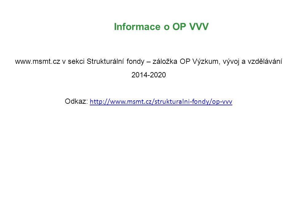 Informace o OP VVV www.msmt.cz v sekci Strukturální fondy – záložka OP Výzkum, vývoj a vzdělávání 2014-2020 Odkaz: http://www.msmt.cz/strukturalni-fondy/op-vvvhttp://www.msmt.cz/strukturalni-fondy/op-vvv