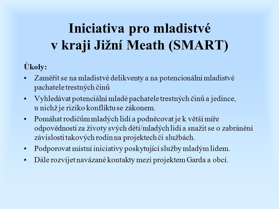 Iniciativa pro mladistvé v kraji Jižní Meath (SMART) Úkoly: Zaměřit se na mladistvé delikventy a na potencionální mladistvé pachatele trestných činů V