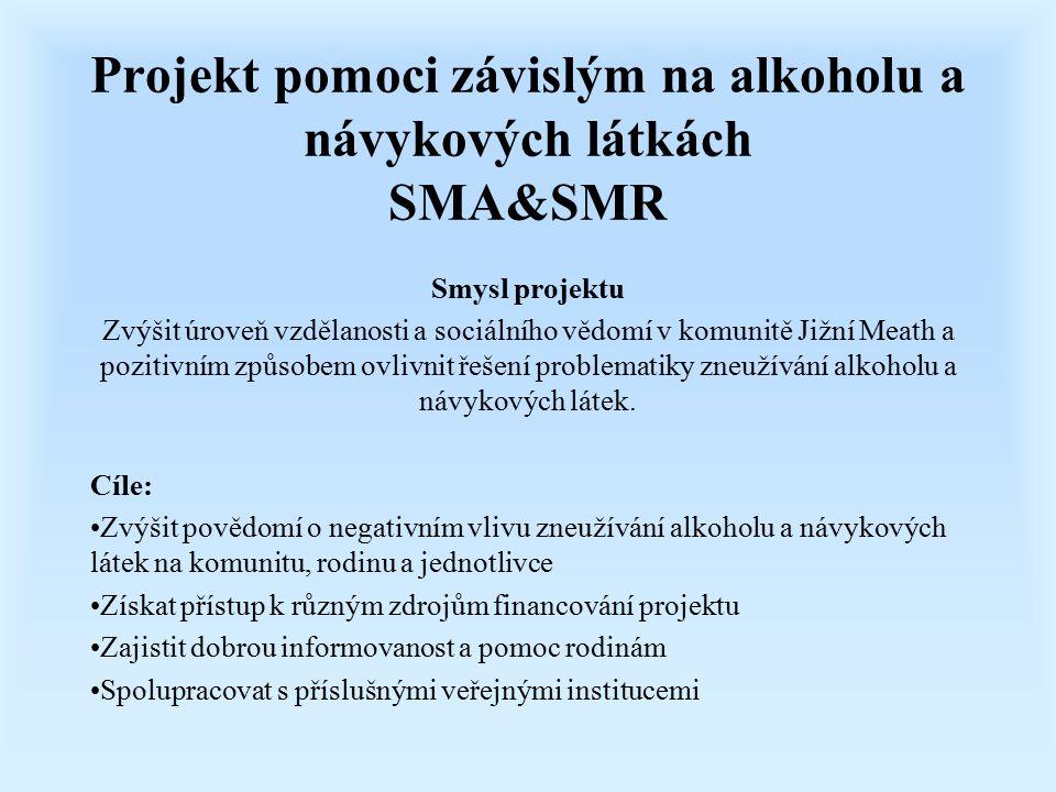 Projekt pomoci závislým na alkoholu a návykových látkách SMA&SMR Smysl projektu Zvýšit úroveň vzdělanosti a sociálního vědomí v komunitě Jižní Meath a pozitivním způsobem ovlivnit řešení problematiky zneužívání alkoholu a návykových látek.