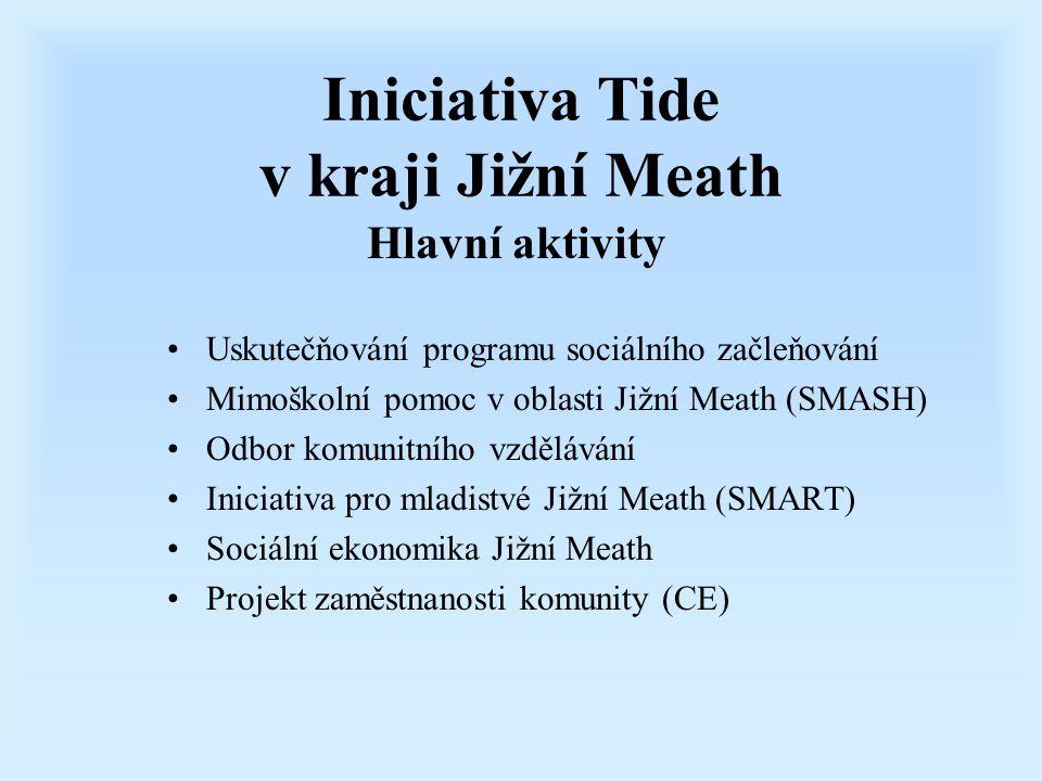 Iniciativa Tide v kraji Jižní Meath Uskutečňování programu sociálního začleňování Mimoškolní pomoc v oblasti Jižní Meath (SMASH) Odbor komunitního vzd