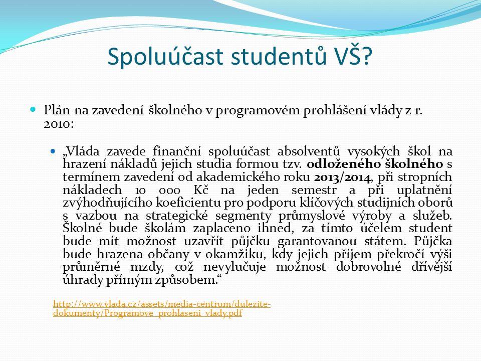 Spoluúčast studentů VŠ. Plán na zavedení školného v programovém prohlášení vlády z r.