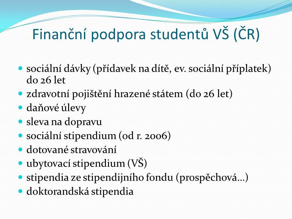 Finanční podpora studentů VŠ (ČR) sociální dávky (přídavek na dítě, ev.