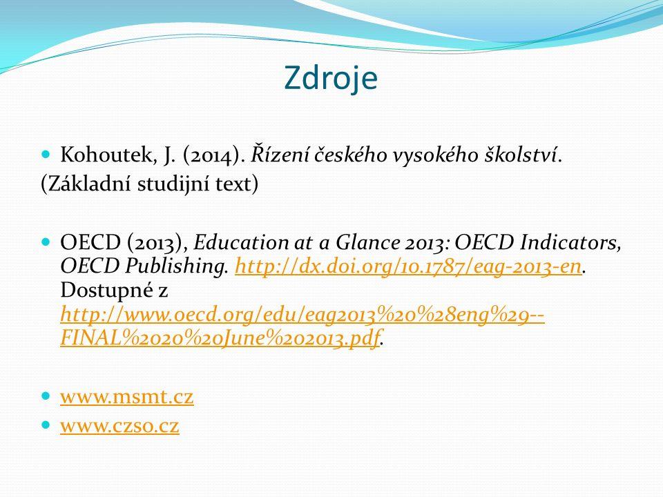 Zdroje Kohoutek, J. (2014). Řízení českého vysokého školství.