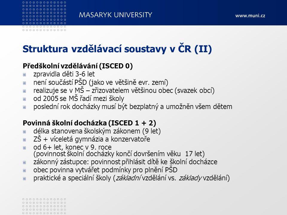 Struktura vzdělávací soustavy v ČR (II) Předškolní vzdělávání (ISCED 0) zpravidla děti 3-6 let není součástí PŠD (jako ve většině evr. zemí) realizuje